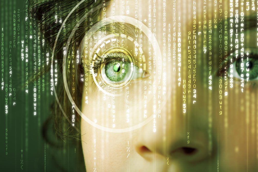 Modern cyber woman with matrix eye concept-1