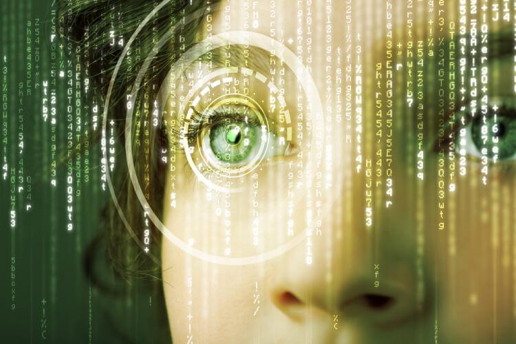 Modern cyber woman with matrix eye concept-1