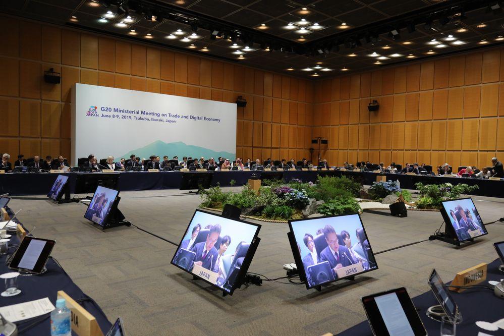貿易・デジタル経済大臣会合 出典:G20茨城つくば貿易・デジタル経済大臣会合ウェブサイト 会議の様子